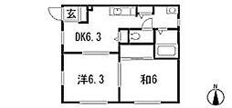 メゾンヤスアキーナD[1階]の間取り