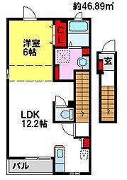 クレールドミール 2階1LDKの間取り