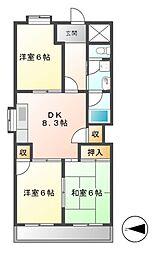 レヂデンス徳田[1階]の間取り