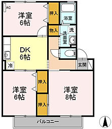 パークサイドハイツ桂台 A棟[2階]の間取り