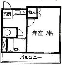 シーサイドマンション 4階ワンルームの間取り