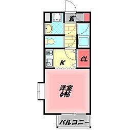 守口ガーデンハウス 3階1Kの間取り