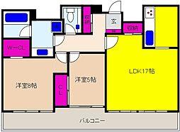 神戸新交通六甲アイランド線 アイランドセンター駅 徒歩5分の賃貸マンション 14階2LDKの間取り