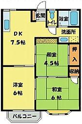 埼玉県狭山市大字堀兼の賃貸アパートの間取り
