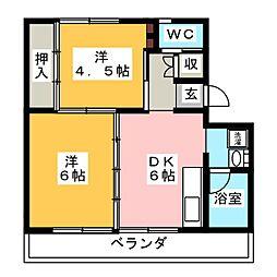ビレッジハウス小瀬 2号棟[3階]の間取り