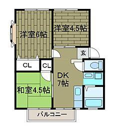 サンクレスト鶴川[1階]の間取り