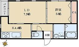 東京都台東区谷中6丁目の賃貸アパートの間取り