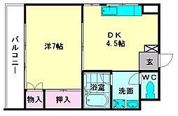 福岡県福岡市博多区博多駅前3の賃貸マンションの間取り