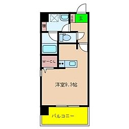 Le CINQ 尼崎東 2階ワンルームの間取り