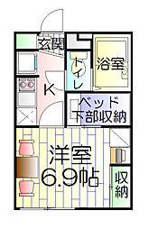 神奈川県横浜市南区前里町3丁目の賃貸アパートの間取り