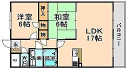 兵庫県伊丹市北本町1丁目の賃貸マンションの間取り