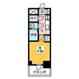 プレサンス名古屋幅下ファビュラス 4階1Kの間取り