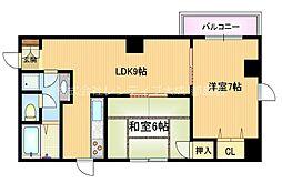 Osaka Metro谷町線 都島駅 徒歩10分の賃貸マンション 3階2LDKの間取り
