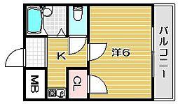 大阪府高槻市出丸町の賃貸マンションの間取り
