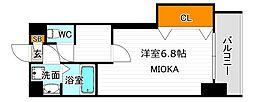 Osaka Metro御堂筋線 西田辺駅 徒歩5分の賃貸マンション 2階1Kの間取り