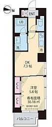 Yun Park Kiba 5階1DKの間取り