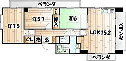 福岡県北九州市八幡東区日の出3丁目の賃貸マンションの間取り