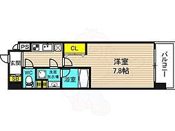 阪神本線 野田駅 徒歩5分の賃貸マンション 2階1Kの間取り