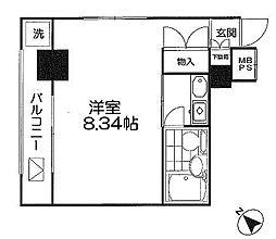 アズール上野短期可 6階1Kの間取り
