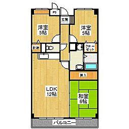 大阪府堺市東区日置荘西町4丁の賃貸マンションの間取り