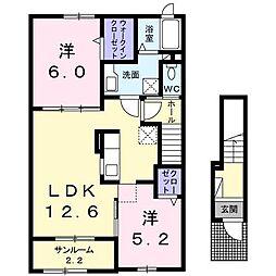 [大東建託]カーサ プラシードII(三戸町)[2階]の間取り