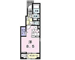 伊予鉄道市駅線 勝山町駅 徒歩16分の賃貸アパート 1階1Kの間取り