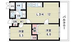 大阪府豊中市本町2丁目の賃貸マンションの間取り