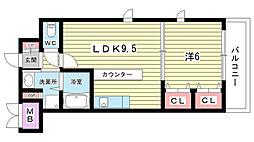 大阪府吹田市春日1丁目の賃貸マンションの間取り
