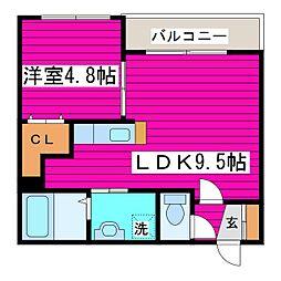 札幌市営東豊線 新道東駅 徒歩2分の賃貸マンション 3階1LDKの間取り