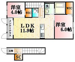 フェリーチェ・コトブキI 2階2LDKの間取り