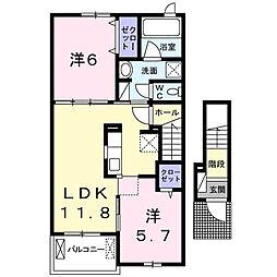 TSUBASA ガーデン 常代[2階]の間取り