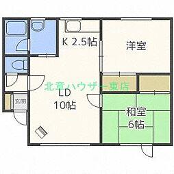 北海道札幌市東区東苗穂四条1丁目の賃貸アパートの間取り