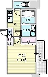 Osaka Metro御堂筋線 新大阪駅 徒歩8分の賃貸マンション 7階1Kの間取り