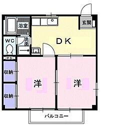 神奈川県厚木市妻田東3の賃貸アパートの間取り