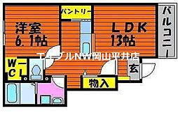 JR赤穂線 西大寺駅 徒歩23分の賃貸アパート 1階1LDKの間取り