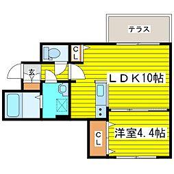 札幌市営東豊線 元町駅 徒歩7分の賃貸マンション 1階1LDKの間取り