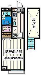 埼玉県草加市弁天1丁目の賃貸アパートの間取り