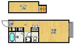 JR片町線(学研都市線) 忍ヶ丘駅 徒歩8分の賃貸アパート 1階1Kの間取り