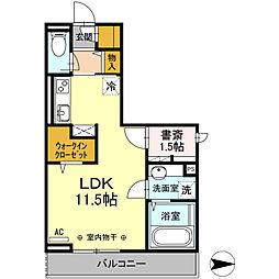 フェリスタ中神 3階1LDKの間取り