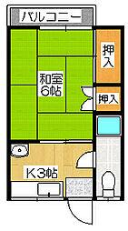 東荘[206号室]の間取り