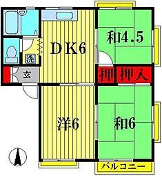 グリーンハイツオカダ A[2階]の間取り