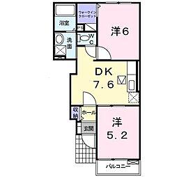 エクセル戸室A 1階2DKの間取り
