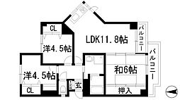兵庫県宝塚市雲雀丘1丁目の賃貸マンションの間取り