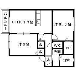 静岡県浜松市東区天龍川町の賃貸アパートの間取り