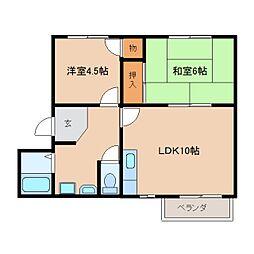 近鉄天理線 天理駅 バス7分 勾田下車 徒歩1分の賃貸アパート 2階2LDKの間取り