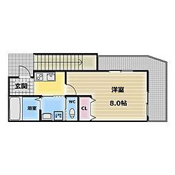 大阪府大阪市東成区大今里西3の賃貸アパートの間取り