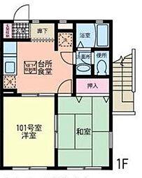 神奈川県横浜市戸塚区品濃町の賃貸アパートの間取り