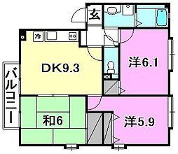 フォブール南斎院A棟・B棟[A202 号室号室]の間取り