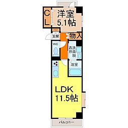 ワイズタワー徳川[5階]の間取り