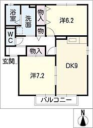 コンフォールII B棟[2階]の間取り
